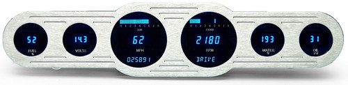 "Dakota Digital Dash Universal Classic Center Mounted Street Rod Panel 6 Gauge Cluster 18x4"" VFD3-CNTR-6"