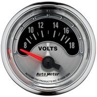 """Auto Meter American Muscle Universal 2-1/16"""" Voltmeter Gauge 8-18V - 1294"""