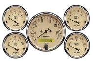 "Auto Meter Antique Beige 5 pc Gauge Kit  3-1/8"" & 2-1/16"" KM/H ELEC. SPEEDOMETER - 1809-M"