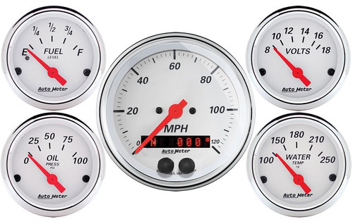 Arctic White 5 Gauge Kit with GPS Speedometer 1350