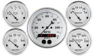 Auto Meter Old Tyme White 5 pc Gauge Kit GPS Speedometer 1650