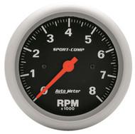 "Auto Meter Sport-Comp 3-3/8"" In-Dash Tachometer Gauge 0-8,000 RPM - 3991"