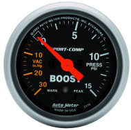 "Auto Meter Sport-Comp 2-1/16"" Boost/Vacuum Gauge 30 IN HG/15 PSI, Stepper Motor - 3376"