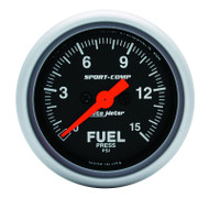 "Auto Meter Sport-Comp 2-1/16"" Fuel Pressure Gauge, 0-15 PSI, Stepper Motor - 3361"