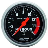 "Auto Meter Sport-Comp 2-1/16"" Nitrous Pressure Gauge, 0-1600 PSI, Stepper Motor - 3374"