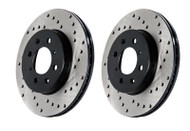 StopTech 2017-2018 Ford Raptor 3.5L SVT Drilled Rear Brake Rotors and PosiQuiet Ceramic Brake Pads 939.65525