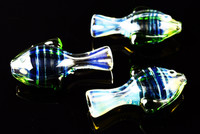 Color Changing Striped Glass Fish Chillum - C171