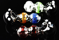 Black and Clear Striped Glass Pipe - P977
