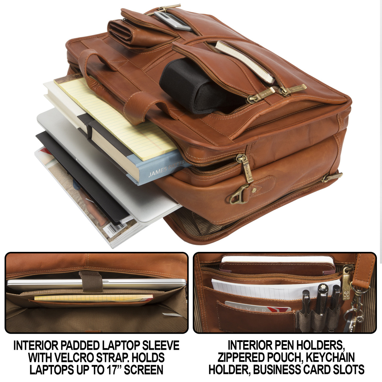 17 inch double compartment leather laptop briefcase new york by muiska new york laptop briefcase has interior pen holders zippered pouch magicingreecefo Image collections