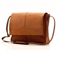 Berlin - Classic Messenger Bag - Front View, Saddle
