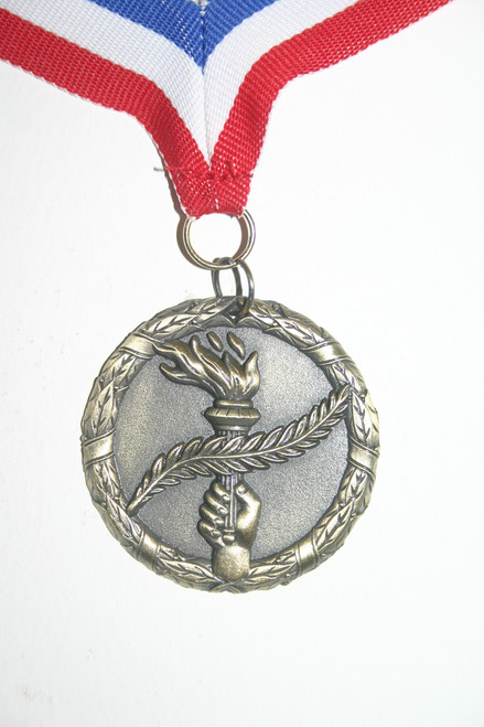 Academic All State medal front with red/white/blue neck ribbon