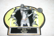 """Female Tennis 3D Plaque  7.25"""" X 5.25"""" Can hang on wall or sit on desk."""