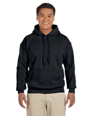 Black  Gildan •	8-ounce, 50/50 cotton/poly pill-resistant air jet yarn hoodie Design printed on back Personalization on left Chest optional Name / number example Jones #24
