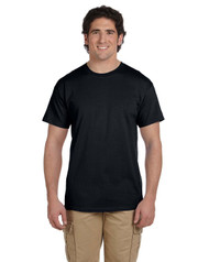 Black Gildan 6oz 100% cotton preshrunk T-shirt Design printed on back Personalization on left Chest optional Name / number example Jones #24