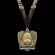All State Football medal front with New football neck ribbon.