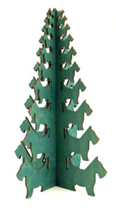 Green Scottie Shaped Wooden Tree