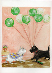 Scottie and Westie with balloons