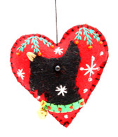 Scottie Applique on a Felt Heart