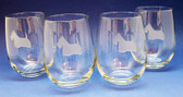 Stemless Wine Glasses with Scottie Etching