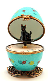 Turquoise Scottie Music Box - open