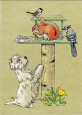 Playful Westie Trees a Squirrel Card