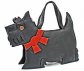Black Scottie Shaped Leather Purse
