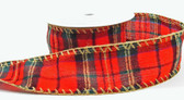 Red Plaid Wired Ribbon
