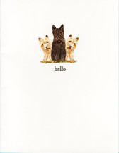Three Scotties Hello Card