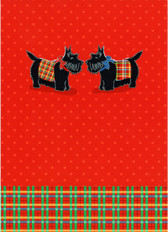 Two Scotties Discuss Their Plaid Coats Card