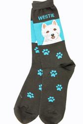 Blue and Black Westie Socks