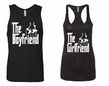 The boyfriend Jersey The girlfriend Burnout Tank Top couples gift shirts
