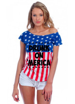 DRUNK ON MERICA July 4th Drop Shoulder Tee w US Flag