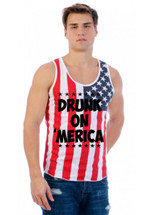 DRUNK ON MERICA July 4th  MENS TANK W US FLAG