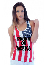 DRUNK ON MERICA July 4th  RACER BACK TANK W US FLAG