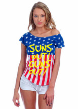 SUNS out guns out yellow independence day 4th of july Drop Shoulder Tee w US Flag