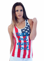 SUNS out guns out blue independence day 4th of july  RACER BACK TANK W US FLAG