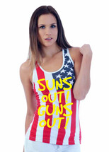 SUNS out guns out yellow independence day 4th of july  RACER BACK TANK W US FLAG