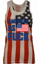 AMERICAN AS FUCK  independence day 4th of july  RACER BACK TANK W US FLAG