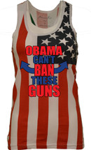 OBAMA CANT BEN THESE GUNS  independence day 4th of july  RACER BACK TANK W US FLAG