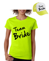 Bride Team Set Of 2 Hats and Womens Tee Shirts Bachelorette party Wedding Clothing