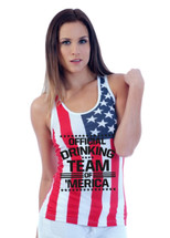 Official drinking team of America RACER BACK TANK W US FLAG
