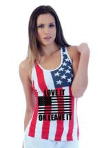 Love it or leave it RACER BACK TANK W US FLAG
