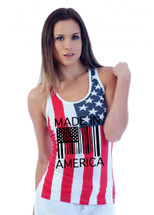 Made in America Flag barcode RACER BACK TANK W US FLAG