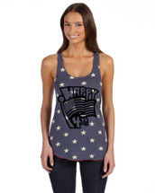 Happy 4th of july Women's Racerback Tanktop White Star