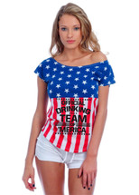 Official drinking team of America Drop Shoulder Tee w US Flag
