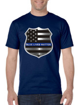 Men's T Shirt Blue Lives Matter American Flag Shirt