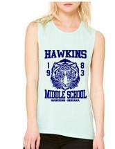 Women's Flowy Muscle Tank Hawkins Middle School 1983