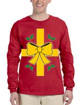 Men's Long Sleeve Christmas Gift Wrap Xmas Ugly Funny Shirt