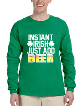 Men's Long Sleeve Instant Irish Add Beer St Patrick's Shirt