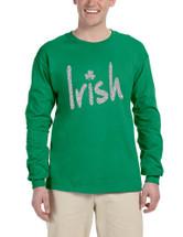 Men's Long Sleeve Irish Glitter Silver Shamrock St Patrick's